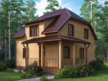 Дом из бруса 7,0х8,0м в полтора этажа с террасой (Д-122)