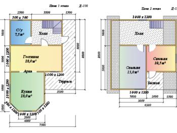 Дом из бруса 7,5х10,5м с террасой (Д-118)